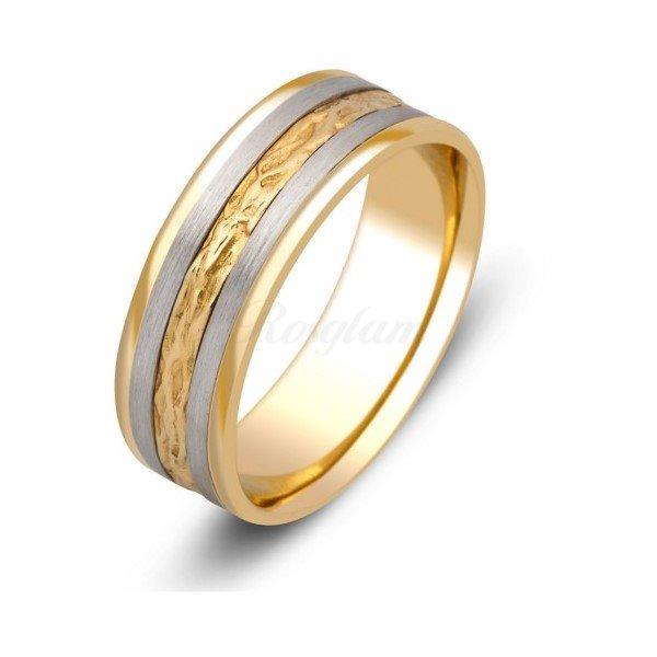 Эксклюзив - Обручальное кольцо из комбинированного золота  - TTZ-117