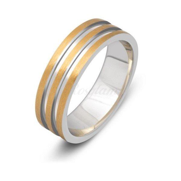 Эксклюзив - Обручальное кольцо из комбинированного золота  - TTZ-554
