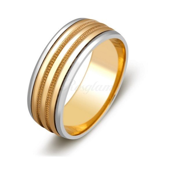 Эксклюзив - Обручальное кольцо из комбинированного золота  - TTZ-591