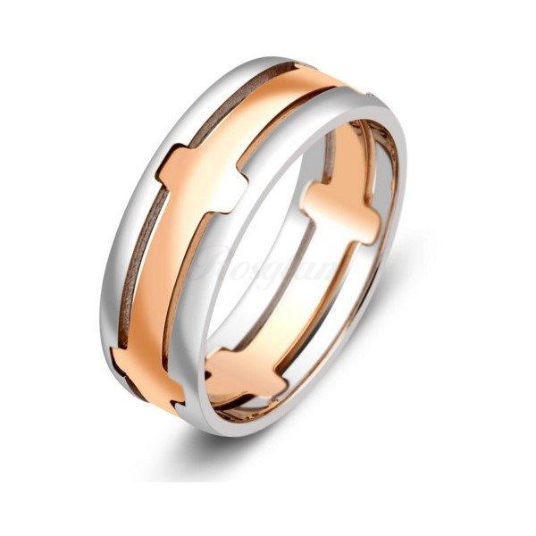 Эксклюзив - Обручальное кольцо из комбинированного золота  - TTZ-707