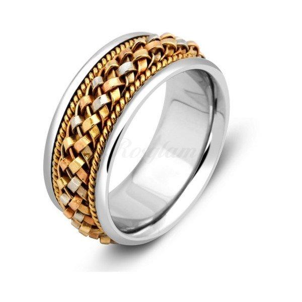 Эксклюзив - Обручальное кольцо из комбинированного золота  - TTZ-162