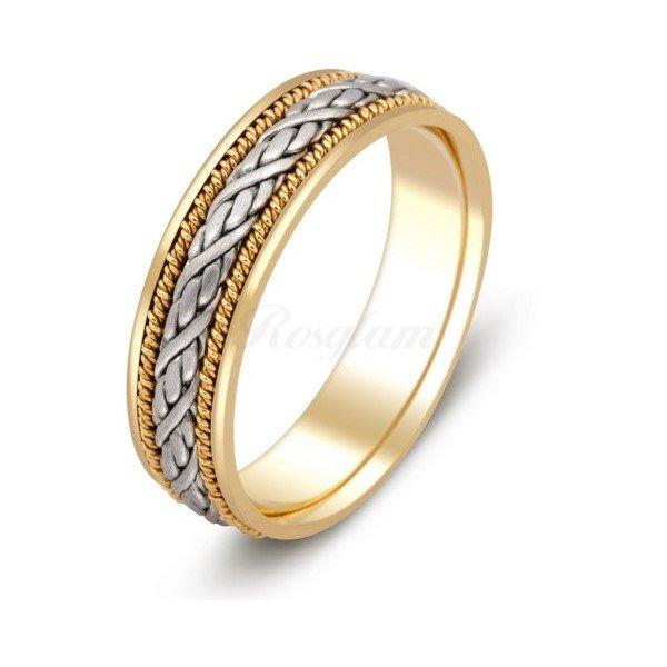 Эксклюзив - Обручальное кольцо из комбинированного золота  - TTZ-230