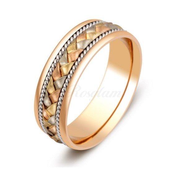 Эксклюзив - Обручальное кольцо из комбинированного золота  - TTZ-345