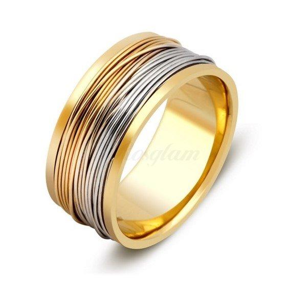Эксклюзив - Обручальное кольцо из комбинированного золота  - TTZ-285