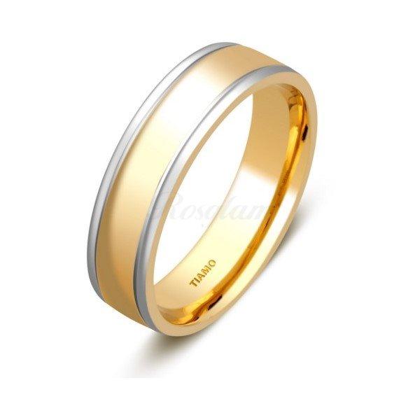 Эксклюзив - Обручальное кольцо из комбинированного золота - TTZ-4663