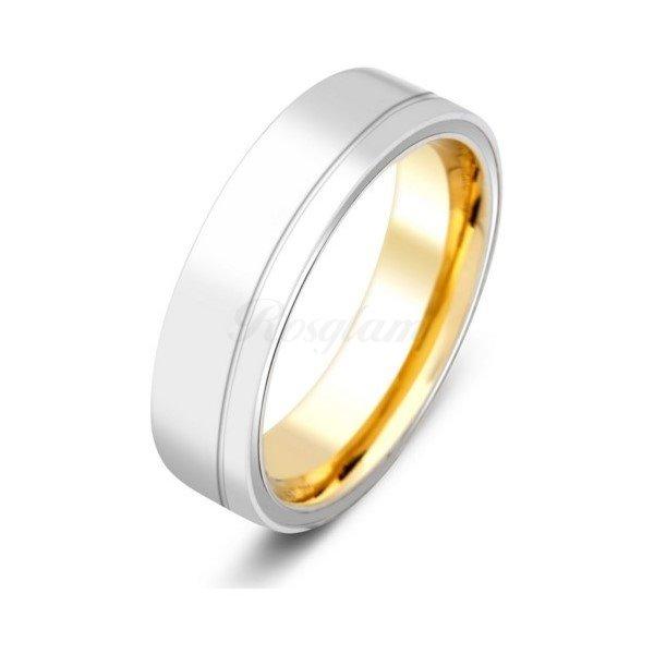 Эксклюзив - Обручальное кольцо из комбинированного золота - TTZ-2142