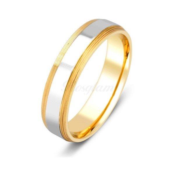 Эксклюзив - Обручальное кольцо из комбинированного золота  - TTZ-633