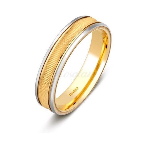 Эксклюзив - Обручальное кольцо из комбинированного золота - TTZ-1309