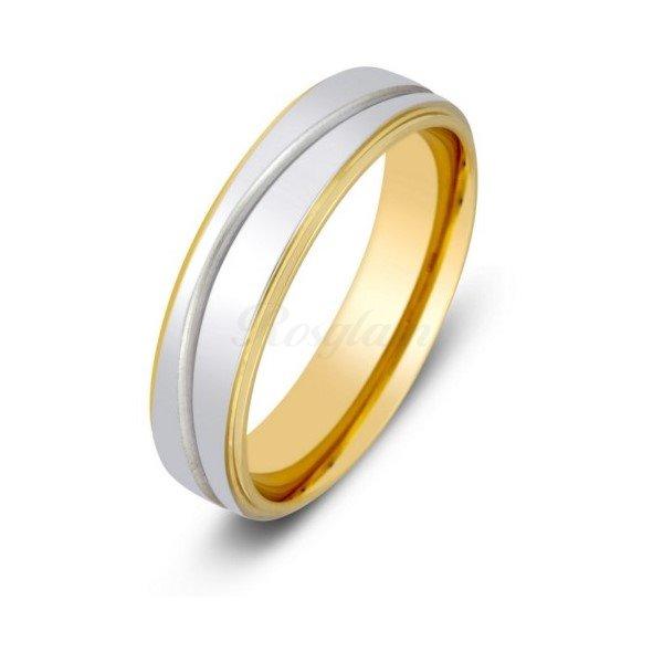 Эксклюзив - Обручальное кольцо из комбинированного золота - TTZ-2108