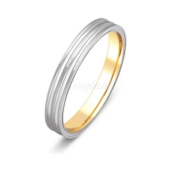 Эксклюзив - Обручальное кольцо из комбинированного золота - TTZ-2101