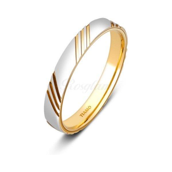 Эксклюзив - Обручальное кольцо из комбинированного золота - TTZ-1301