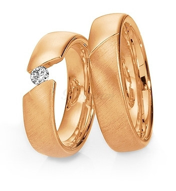 Золотые парные обручальные кольца с бриллиантами (ширина 6 мм.) - 2К-1011
