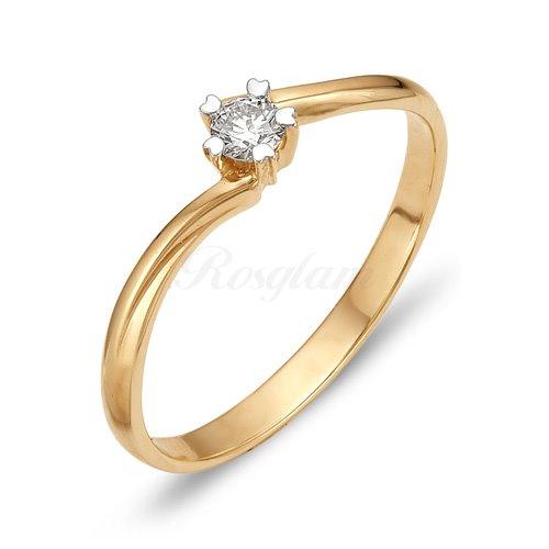 Кольцо из красного золота с бриллиантом - К112-1011