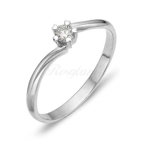 Кольцо из белого золота с бриллиантом - К210-1011