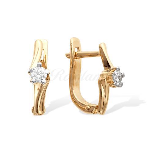 Серьги из красного золота с бриллиантами - С112-1011